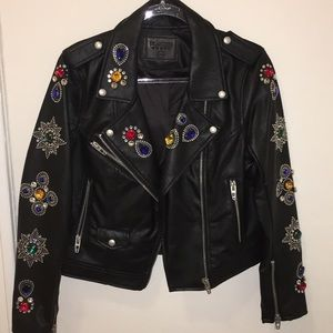 BLANK NYC Black Moto Jacket with Crystals - M